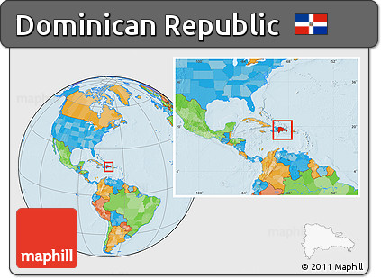Free Political Location Map of Dominican Republic within the
