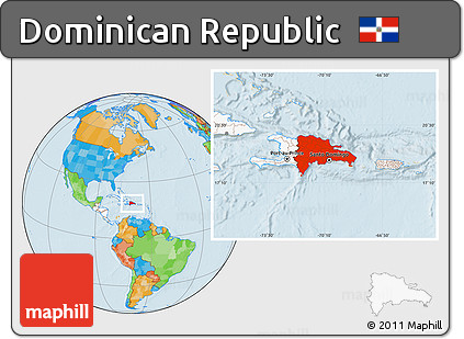 Free Political Location Map of Dominican Republic, highlighted continent