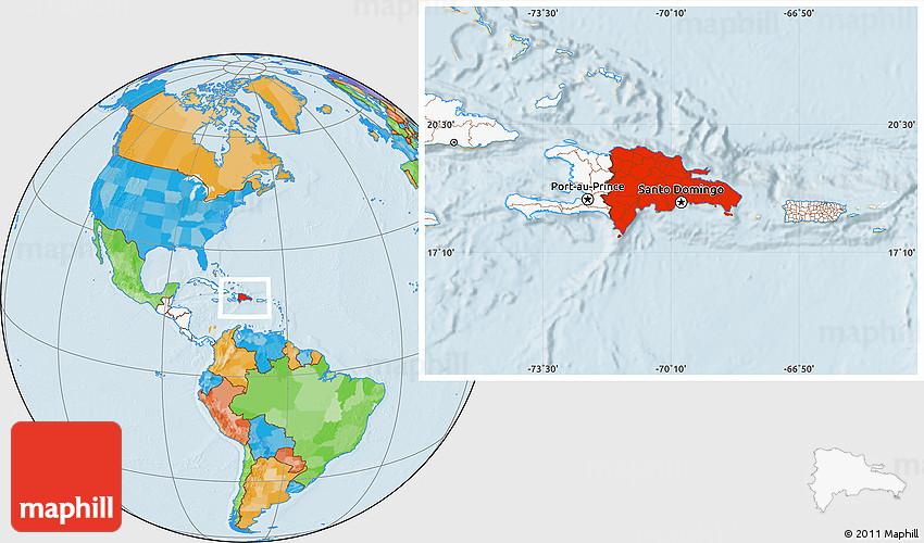 Political Location Map Of Dominican Republic Highlighted Continent - Map of dominican republic world