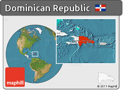 Free Satellite Location Map of Dominican Republic highlighted