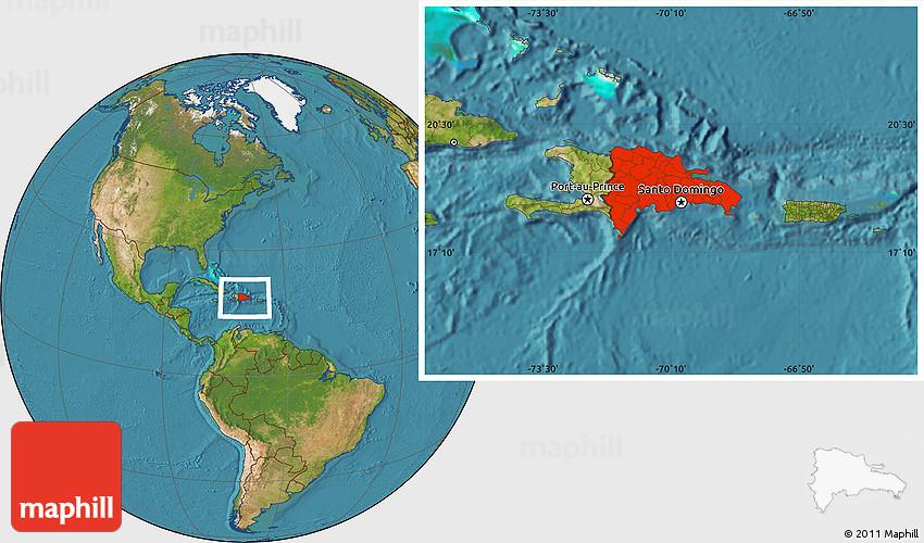 Satellite Location Map of Dominican Republic