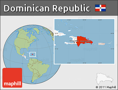 Free Savanna Style Location Map of Dominican Republic highlighted