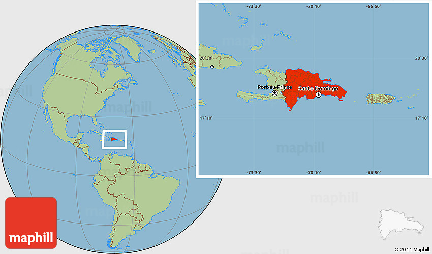 Savanna Style Location Map of Dominican Republic