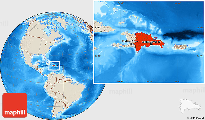 Shaded Relief Location Map of Dominican Republic
