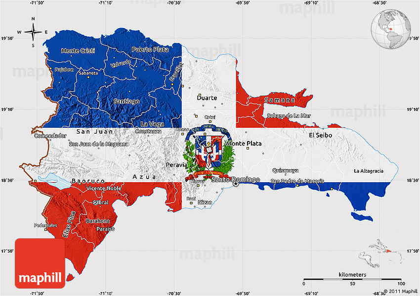 Flag Map of Dominican Republic Dominican Republic Map on