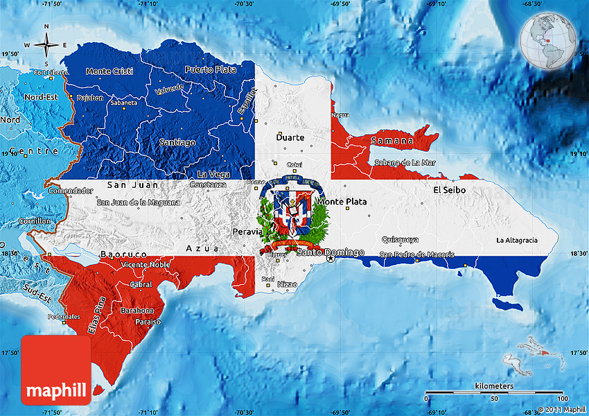 Flag Map of Dominican Republic, political shades outside Dominican Republic Map Flag on