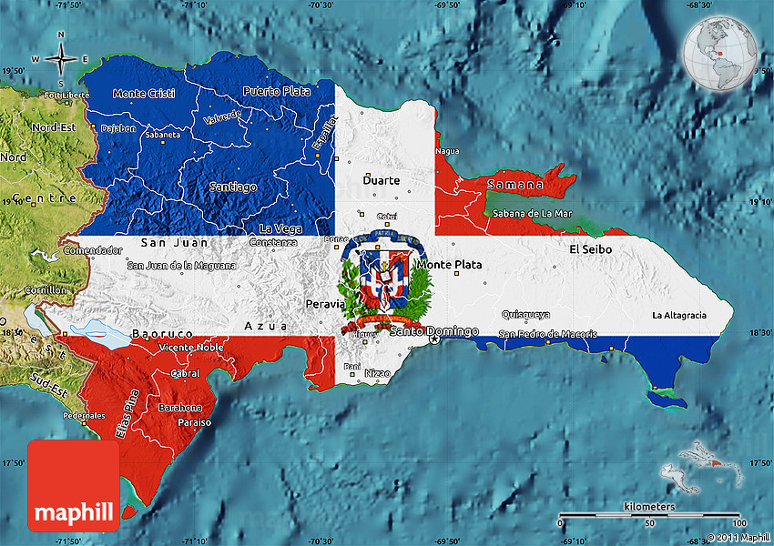 Flag Map of Dominican Republic, satellite outside