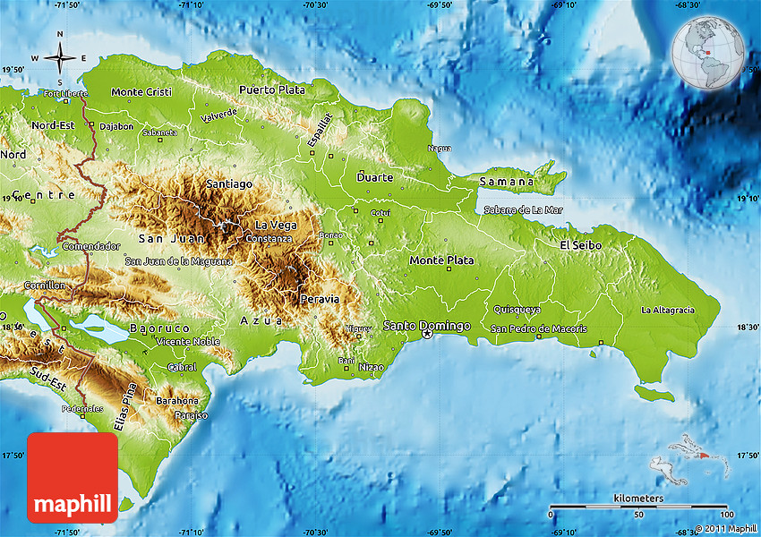 Physical Map of Dominican Republic