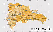 Political Shades Map of Dominican Republic, cropped outside