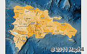 Political Shades Map of Dominican Republic, darken