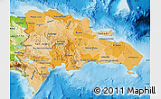 Political Shades Map of Dominican Republic, physical outside