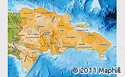 Political Shades Map of Dominican Republic, satellite outside, bathymetry sea