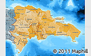 Political Shades Map of Dominican Republic, semi-desaturated, land only