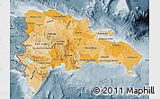 Political Shades Map of Dominican Republic, semi-desaturated