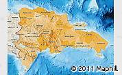 Political Shades Map of Dominican Republic, shaded relief outside, bathymetry sea