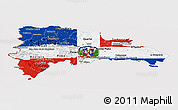 Flag Panoramic Map of Dominican Republic