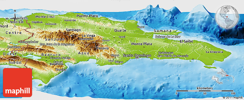 Physical panoramic map of dominican republic gumiabroncs Choice Image