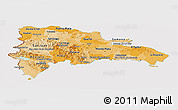Political Shades Panoramic Map of Dominican Republic, cropped outside