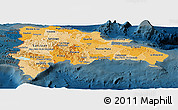 Political Shades Panoramic Map of Dominican Republic, darken