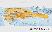 Political Shades Panoramic Map of Dominican Republic, lighten