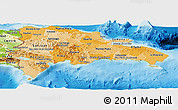 Political Shades Panoramic Map of Dominican Republic, physical outside