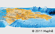 Political Shades Panoramic Map of Dominican Republic