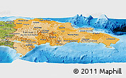Political Shades Panoramic Map of Dominican Republic, satellite outside, bathymetry sea