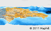 Political Shades Panoramic Map of Dominican Republic, semi-desaturated, land only