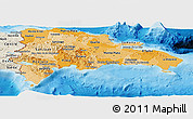 Political Shades Panoramic Map of Dominican Republic, shaded relief outside, bathymetry sea