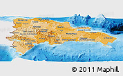 Political Shades Panoramic Map of Dominican Republic, single color outside
