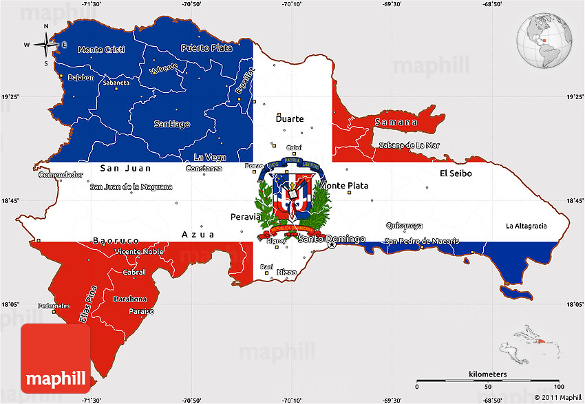 Flag Simple Map of Dominican Republic on