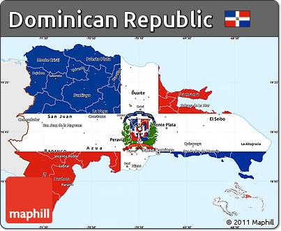 Free Flag Simple Map Of Dominican Republic Single Color Outside - A map of dominican republic