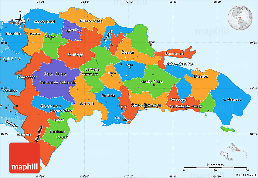Political Simple Map of Dominican Republic political shades outside