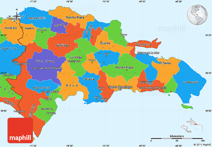 Political Simple Map of Dominican Republic