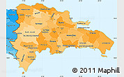 Political Shades Simple Map of Dominican Republic