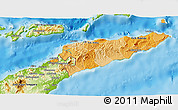 Political Shades 3D Map of East Timor, physical outside