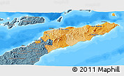 Political Shades 3D Map of East Timor, semi-desaturated, land only