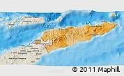 Political Shades 3D Map of East Timor, shaded relief outside, bathymetry sea