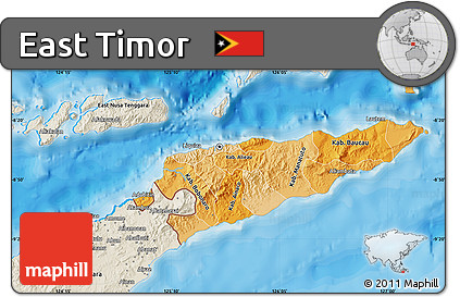 Free Political Shades Map of East Timor shaded relief outside