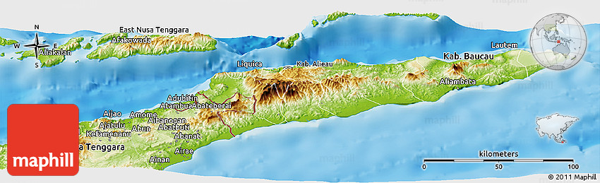 Physical Panoramic Map of East Timor