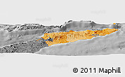 Political Shades Panoramic Map of East Timor, desaturated