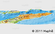 Political Shades Panoramic Map of East Timor, physical outside