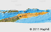Political Shades Panoramic Map of East Timor, satellite outside, bathymetry sea
