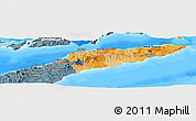 Political Shades Panoramic Map of East Timor, semi-desaturated, land only