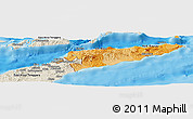 Political Shades Panoramic Map of East Timor, shaded relief outside, bathymetry sea