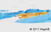 Political Shades Panoramic Map of East Timor, single color outside