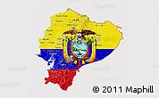 Flag 3D Map of Ecuador, flag centered