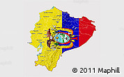 Flag 3D Map of Ecuador, flag aligned to the middle