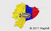 Flag 3D Map of Ecuador, flag rotated