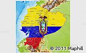 Flag 3D Map of Ecuador, physical outside